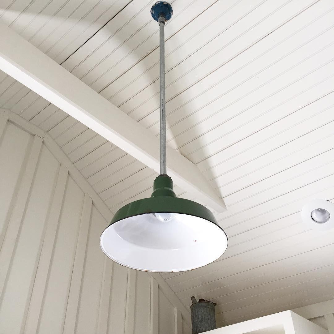 Bead board ceiling vintage green enamel light fixture