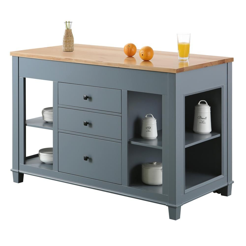Design Element Medley Gray Kitchen Island With Slide Out Table Kd 01 Gy The Home Depot Grey Kitchen Island Stylish Kitchen Island Grey Kitchen