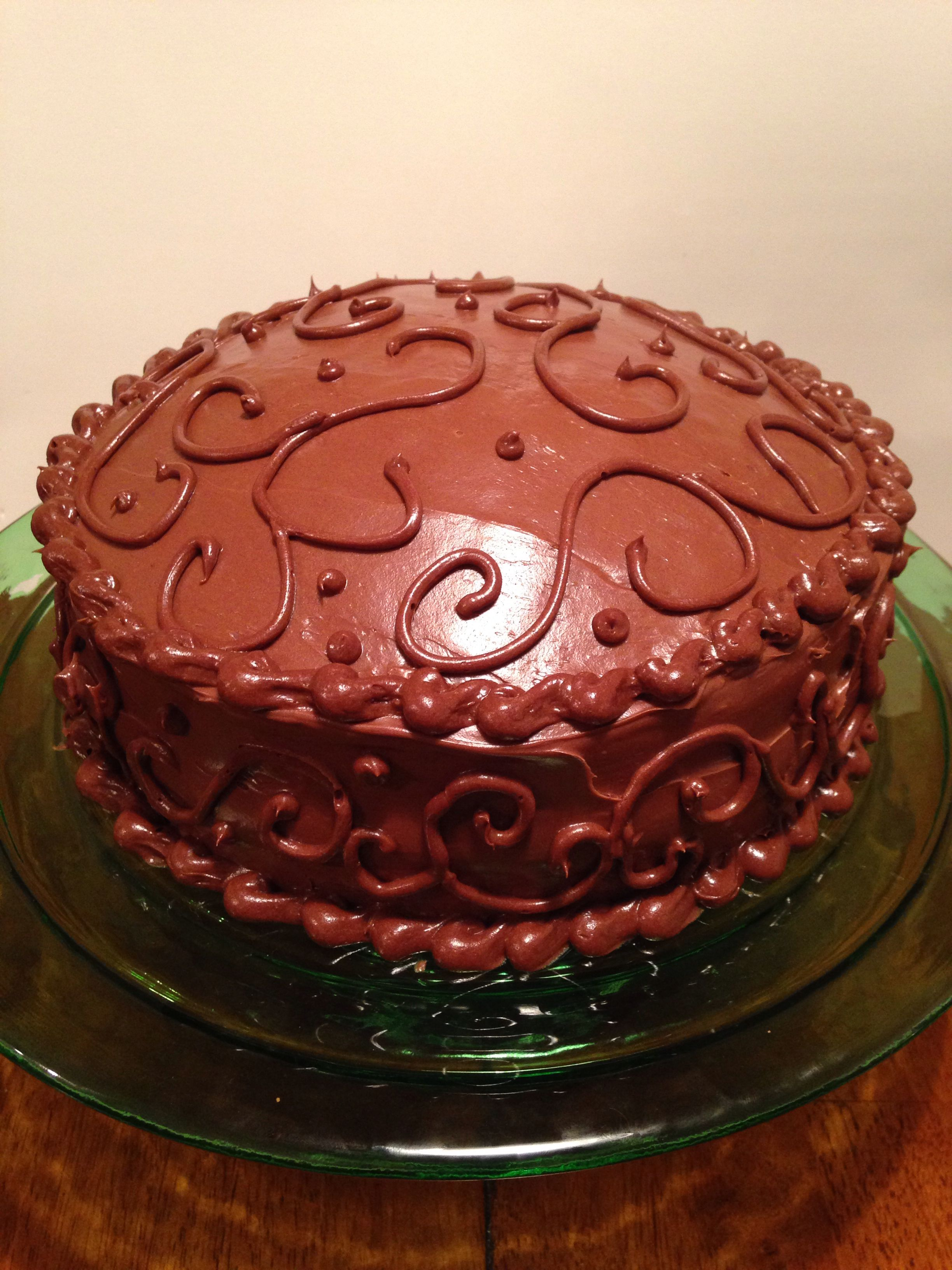 Chocolate Cake Decorated With Swirl Piping My Step Mom Is So