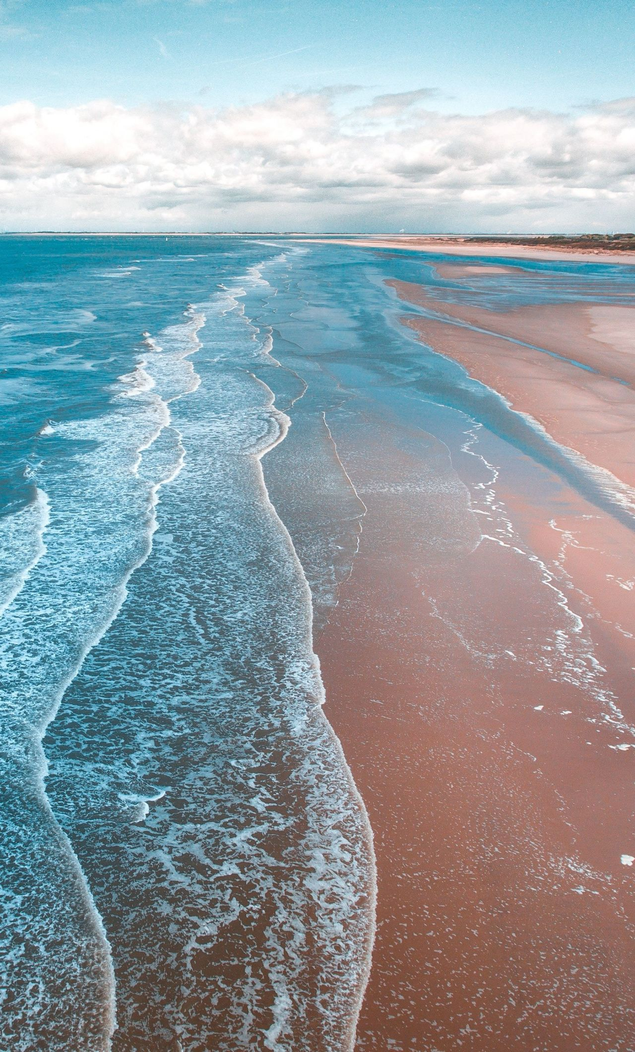 Beach, sea waves, soft, beautiful, 1280x2120 wallpaper