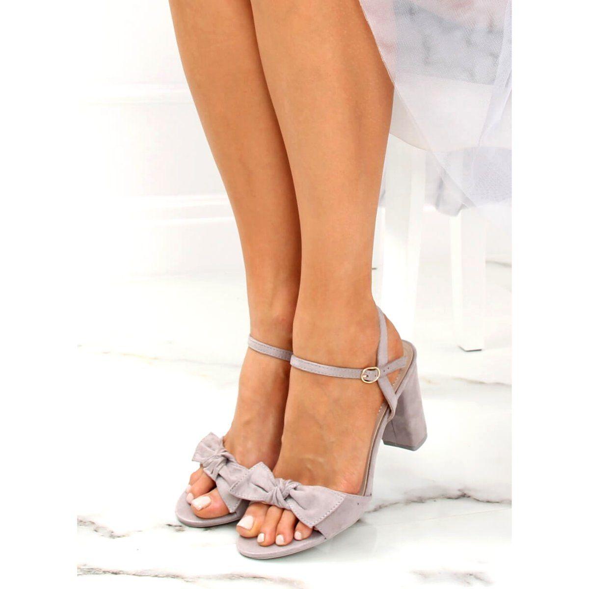 Sandalki Na Slupku Szare Gh1508 Grey Shoes Fashion Sandals