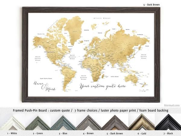 Personalized world map framed push pin board in gold effect personalized world map framed push pin board in gold effect featuring your favorite quote gumiabroncs Images
