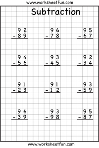 subtraction regrouping worksheets      digits  printable  subtraction regrouping worksheets      digits