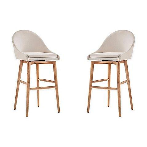 Inspire Q Conrad Danish Modern Swivel Bar Chair Set Of 2