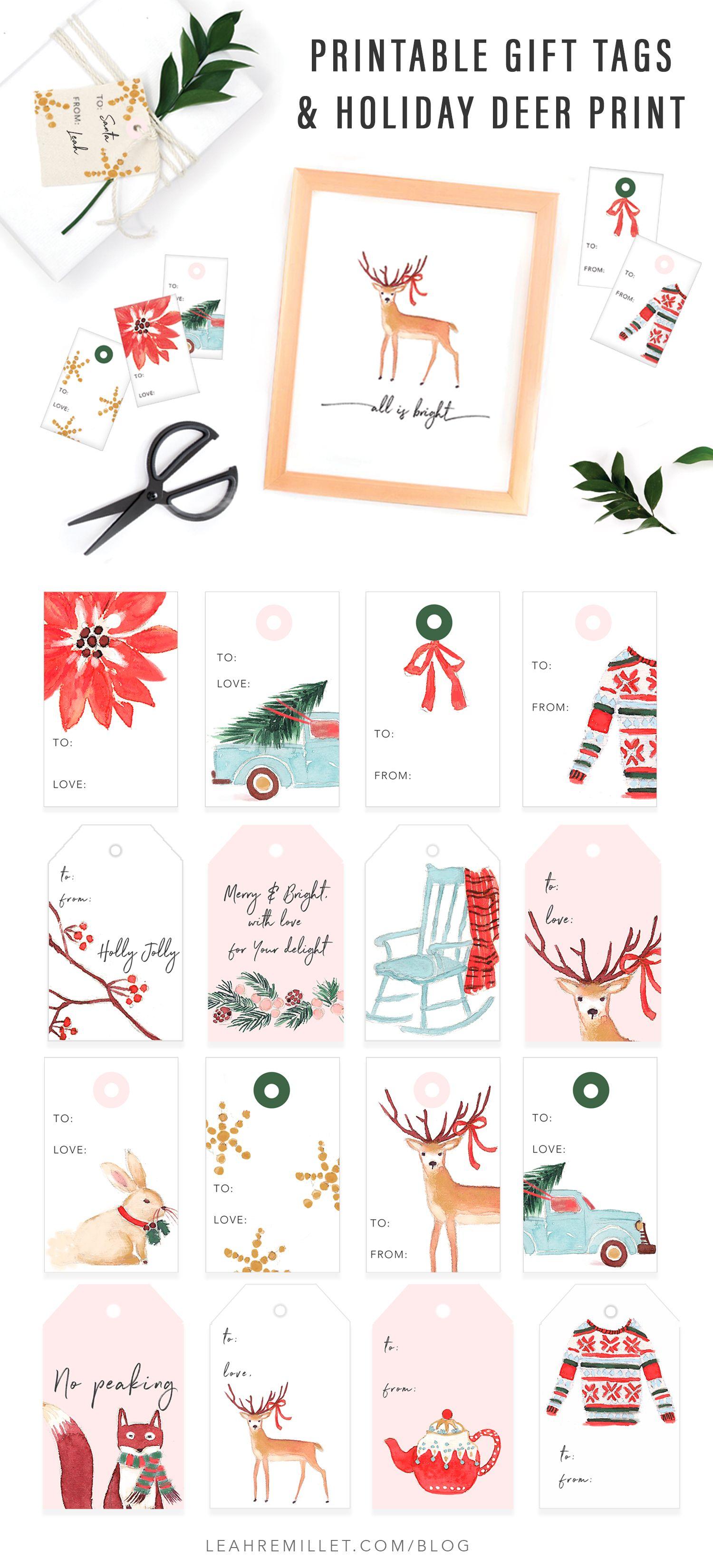 free holiday printable t tags and print deer
