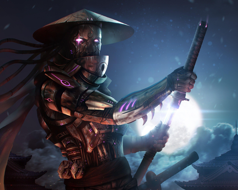 Women Warrior Artwork Sword Rain Cyberpunk Cyberpunk: 3000x2393 Arte General Fantasía Samurai Katana