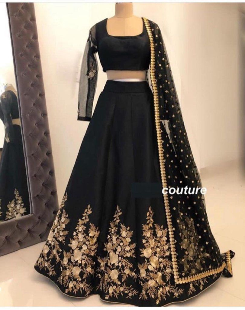 Classic Partywear Black And Gold Colour Designer lehenga Choli 3