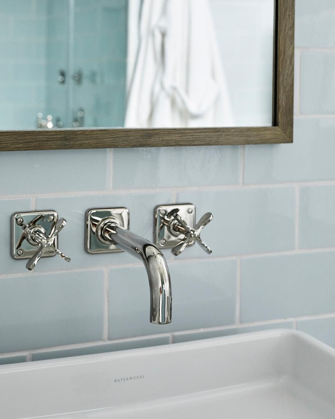Waterworks On Instagram See Things From A New Perspective With A Wall Mounted Bathroom Faucet Ludlow Wall Mount Faucet Bathroom Bathroom Faucets Waterworks