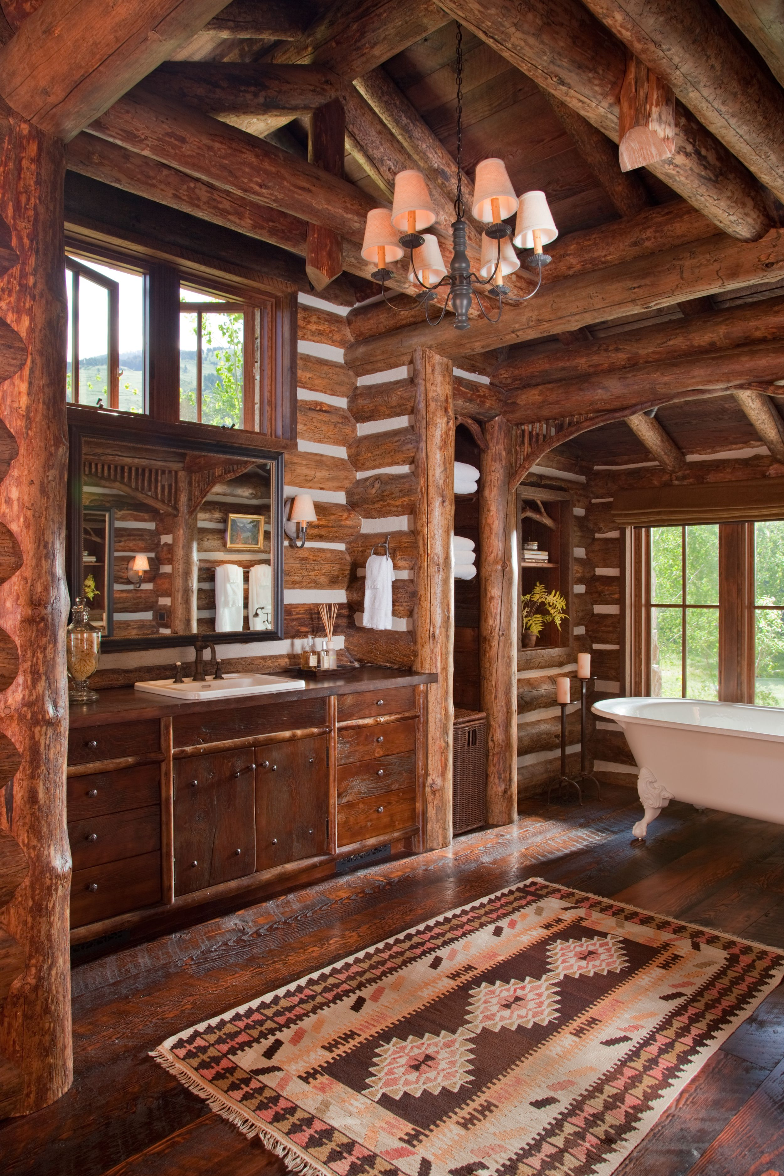 Log home interior ideas chandelier and rug  one room cabin  pinterest  ranch cabin and