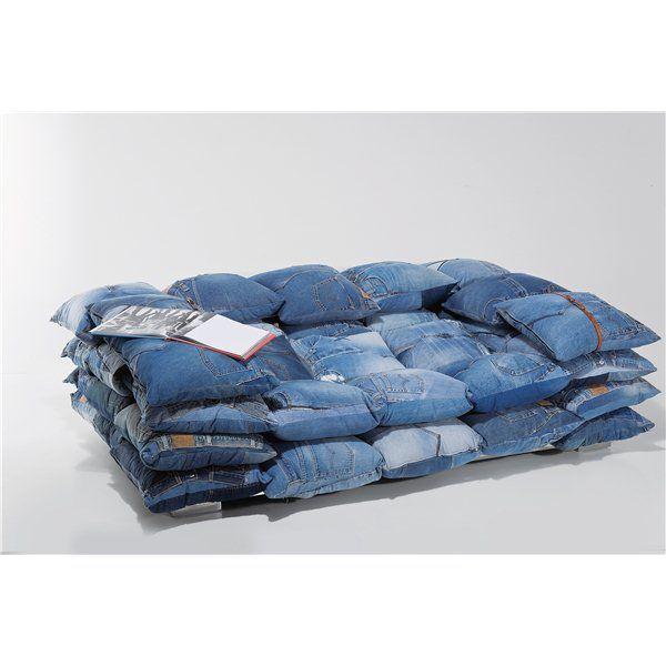 Jeans kussen-bank 2-zits | Robin Clasic | Unieke bank in spijkerstof