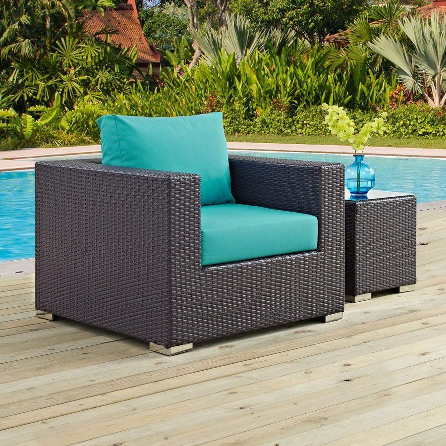 Convene espresso turquoise fabric rattan outdoor patio armchair