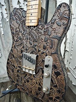 "Shyboy Telecaster from the Liberty Boot Co. Collection. Bound leather top,back & sides, swamp ash body, solid maple neck, 7 1/4"" radius- 1 5/8"" width, nitro finish, Lollar pickups. Dangerous"