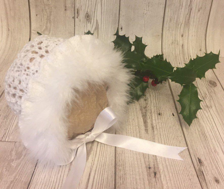 0-3 months  Baby Girl White Crochet Bonnet With White Marabou And White Rosebuds