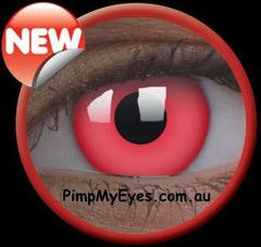 UV Glow Red Crazy Contact Lenses Pair - PimpMyEyes.com.au | PimpMyEyes
