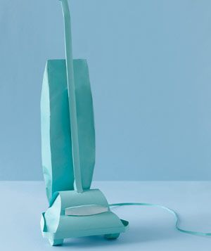 Vaccum cleaner made of paper by Matthew Sporzynski for Real Simple