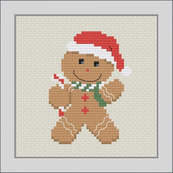 Photo of christmas cross stitch pattern, gingerbread man, modern cross stitch, christmas ornament, PDF, ** instant download**