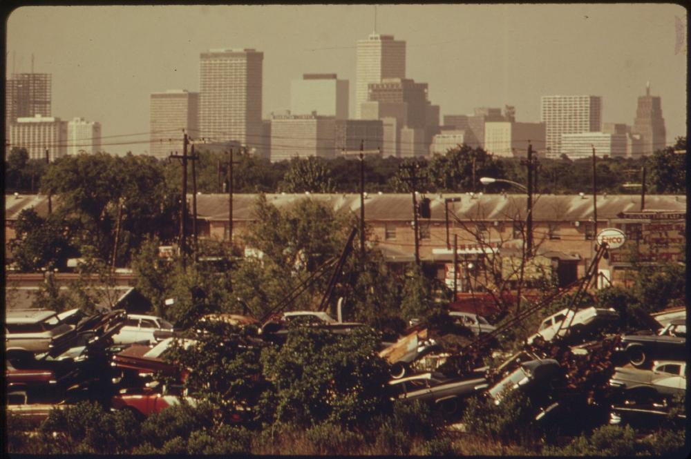 Automobile Junkyard With Houston Skyline In Background Nara 549638 Category 1972 In Houston Wikimedia Commons