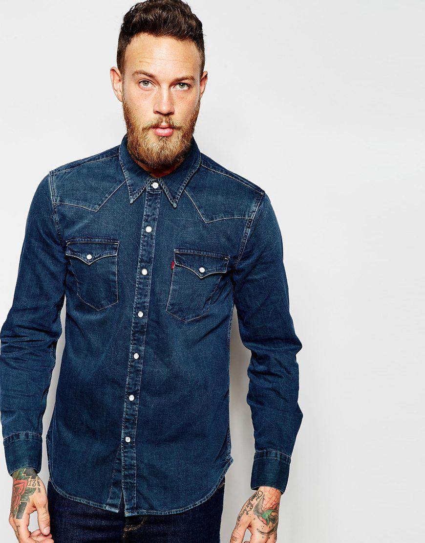 94b531ee49 Levi s Denim Shirt Barstow Slim Fit Western Copper Tint Dark Wash ...