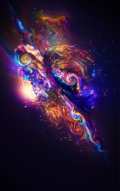 Carnival Render Colorful Fractal Neon Sci Fi 4k 5k Wallpaper Hdwallpaper Desktop Abstract Wallpaper Abstract Fractals Hd wallpaper abstract neon fractal waves