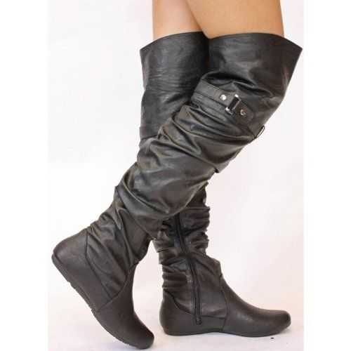 WOMENS LADIES FLAT WALKING WINTER LOW HEEL BIKER STYLE RIDING PULL ON THIGH HIGH OVER THE KNEE BOOTS