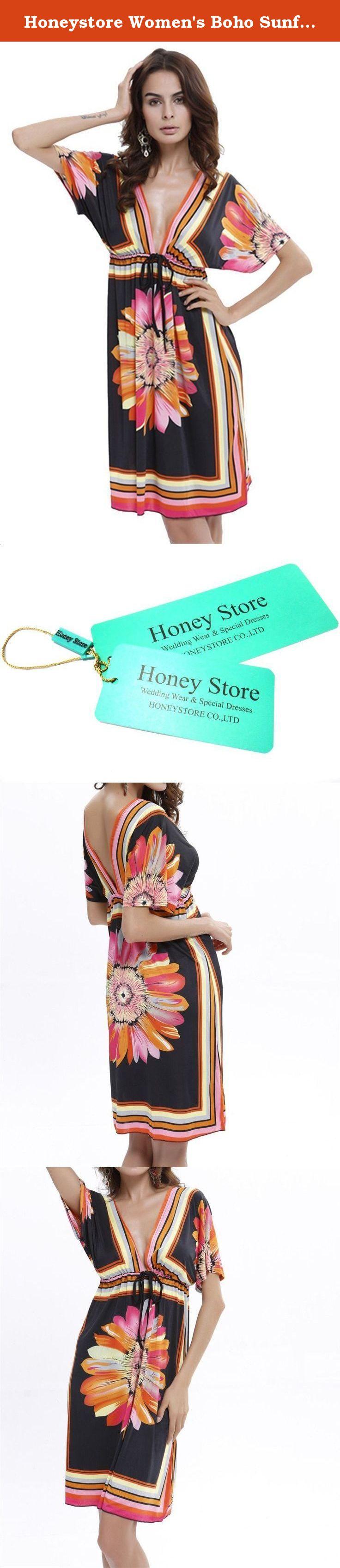 Honeystore womenus boho sunflower print summer island beach casual