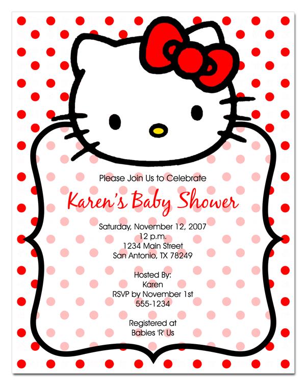 Elegant Hello Kitty Baby Shower Invitations