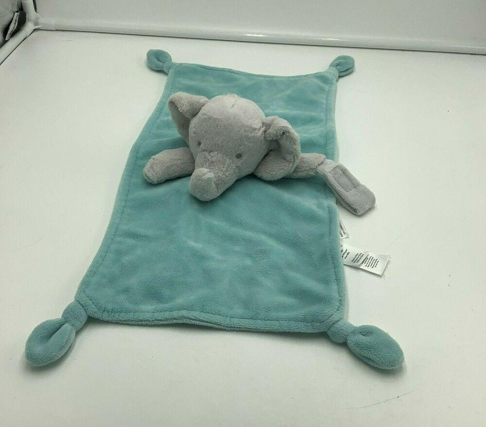 Carters Elephant Security Baby Blanket Green Gray Aqua Blue Lovey plush soft toy