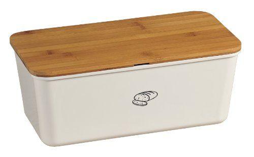 "Kesper Bread Box, 13.39"" x 5.51"" x 7.09"", White Kesper"