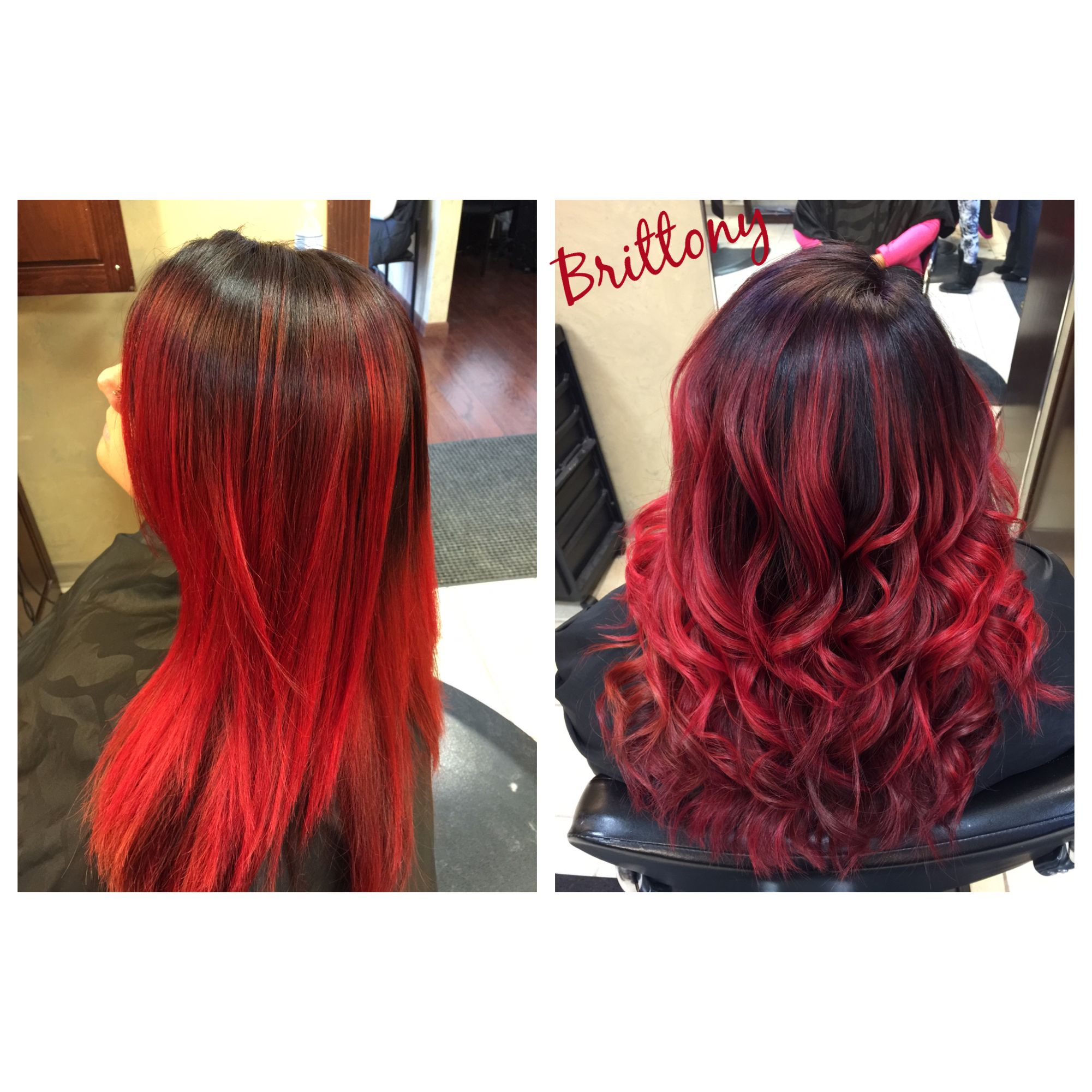 Balayaged Ombre Bright Red With A Rich Dark Red Violet Base Bright Red Hair Ombre Bright Red Hair Hair Inspiration Color