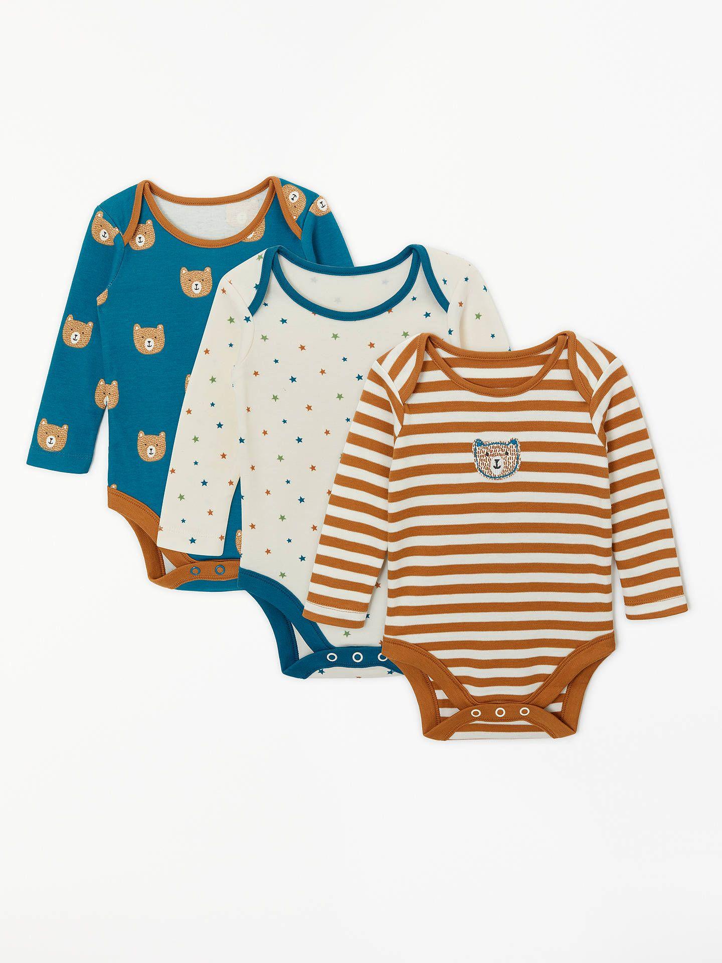 239e669ca5e BuyJohn Lewis   Partners Baby GOTS Organic Cotton Bear Face Long Sleeve  Bodysuits