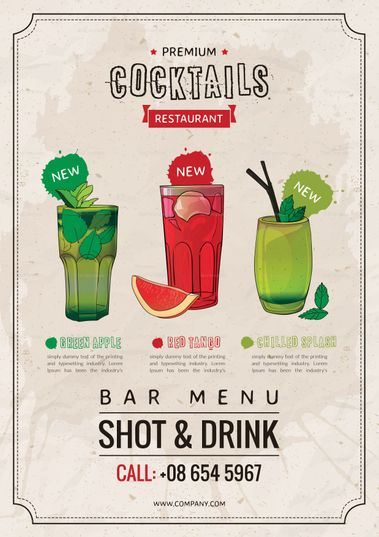 Bar Drink Menu Template | Menu Template designs | Pinterest | Drink ...