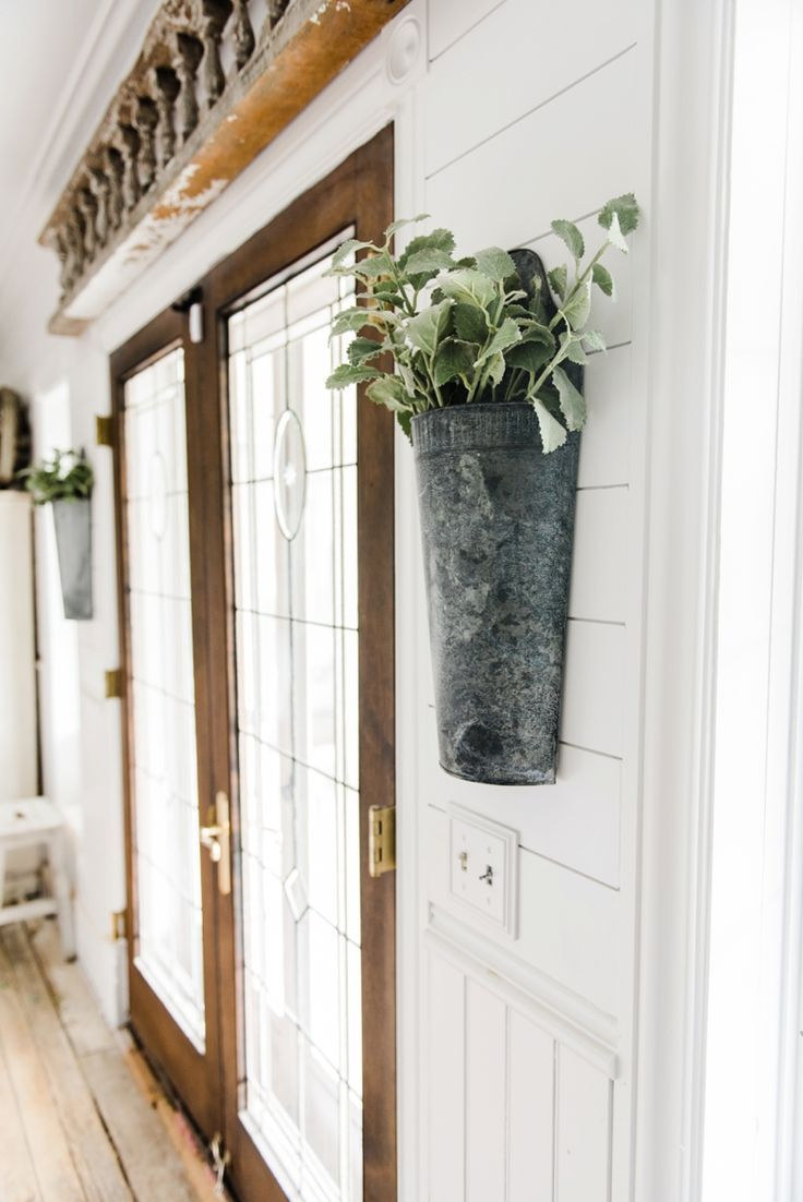 Hanging Metal Vases With Flowers On Each Side Of The French Doors Great Farmhouse