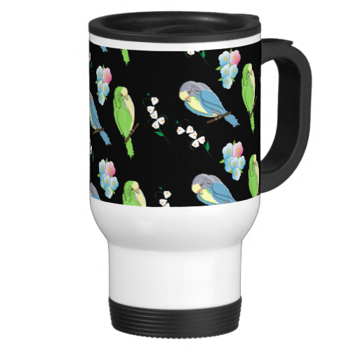 Cute Little Budgie Birds and Flowers Coffee Mug