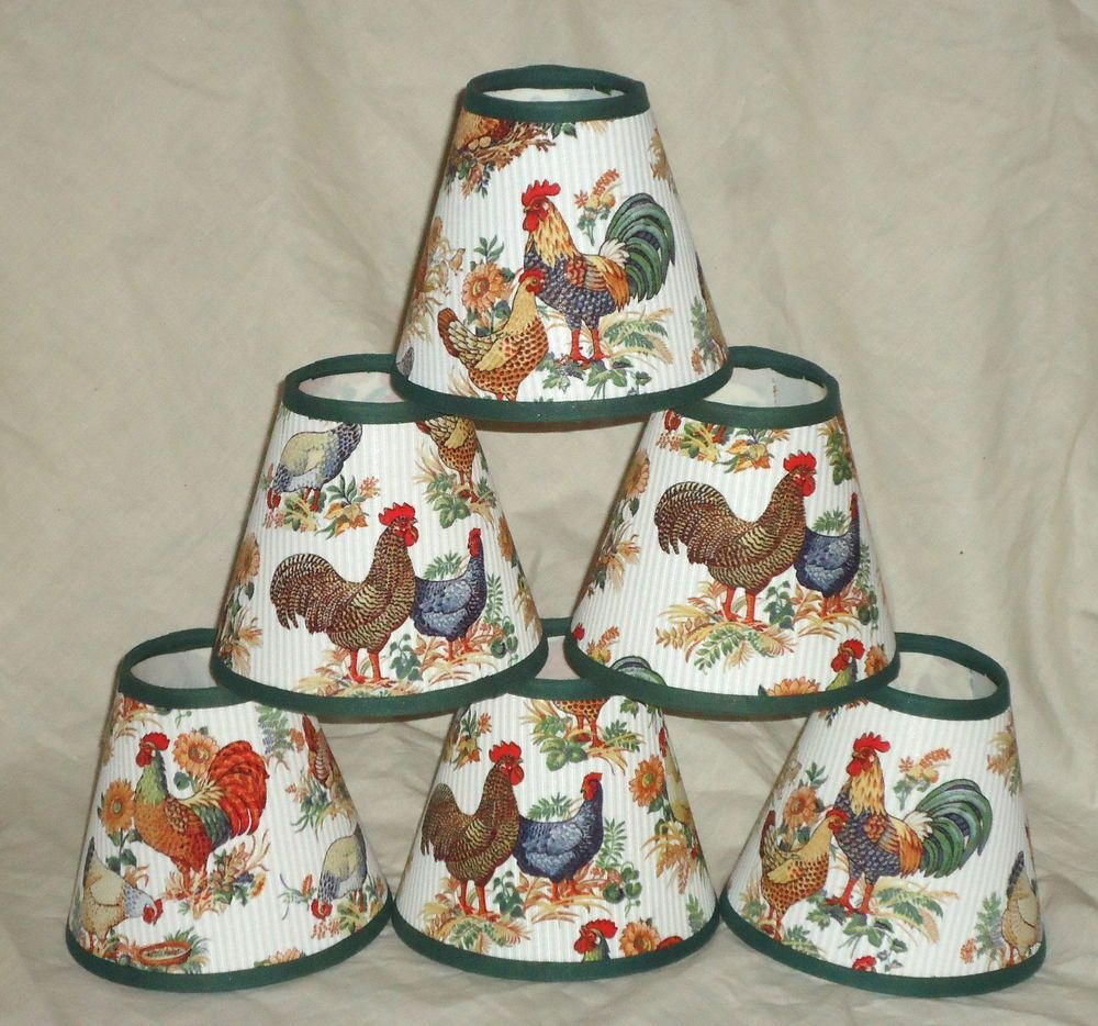 Lot Of 6 En Rooster Fabric Mini Chandelier Lamp Shades Clip On