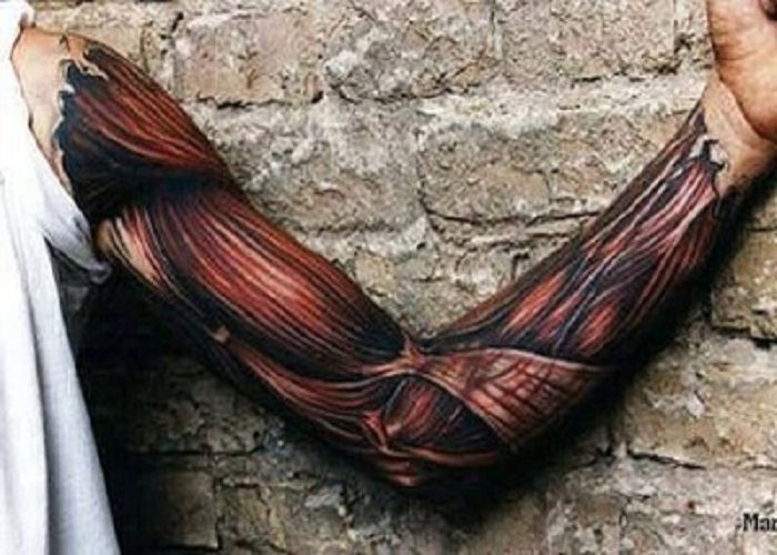 fba222e78 Types of 3D Tattoos for Men: 3D Full Sleeve Muscle Tattoo Ideas For Men ~  lookmytattoo.com Tattoo Design Inspiration