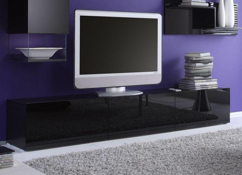 banc tv noir laqué design abibo 2 | meuble tv | pinterest | tvs ... - Meuble Tv Designe