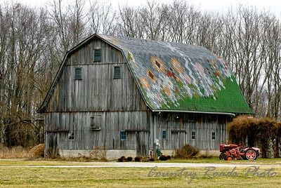 weathered barn with patchwork roof shelby county indiana barns