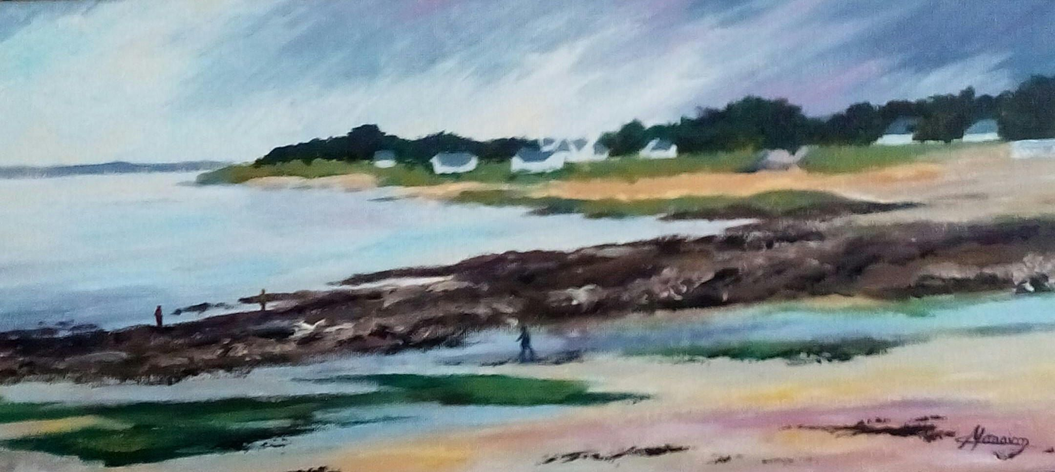 Painting Acrylic Tide Brittany Painting Sea And Rocks Landscape