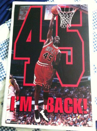 e877242e5 Michael-Jordan-Poster-45-Im-Back-23-x-35-1995-Air-Jordan-X-shoe-Chicago- Bulls