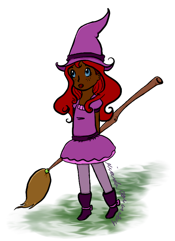 A little witch I designed around Oct. 2014 for Halloween. I think this one is my favorite, with all her little swirlies. 3/3