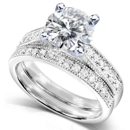 Round Moissanite 2ct Dew And Diamond Wedding Ring Set In 14k White Gold 1 509 99