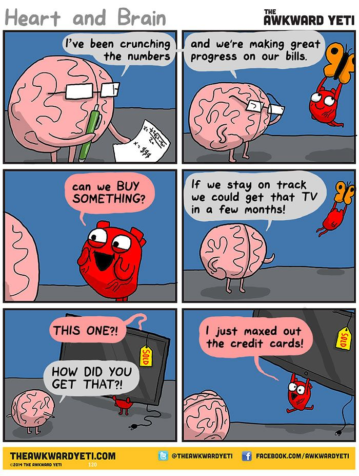 Heart Vs Brain Funny Webcomic Shows Constant Battle Between Our Intellect And Emotions Awkward Yeti Funny Funny Comics