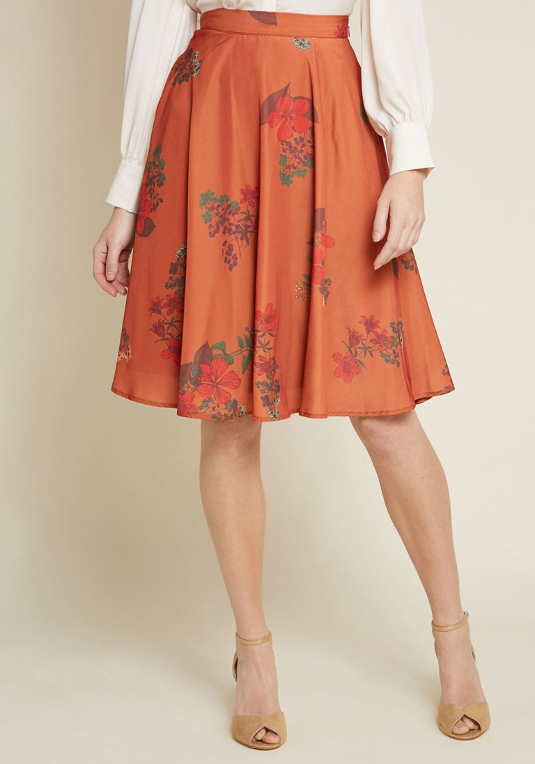 5c1a54e5 Just This Sway A-Line Skirt in Orange Floral in 3X - Full Skirt Mid by  ModCloth