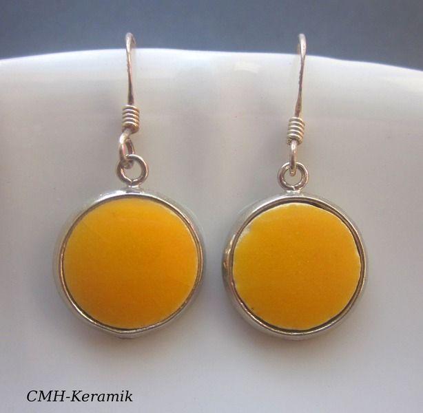 *sunny day* - 925er Keramikohrhänger  von cmh.keramik auf DaWanda.com