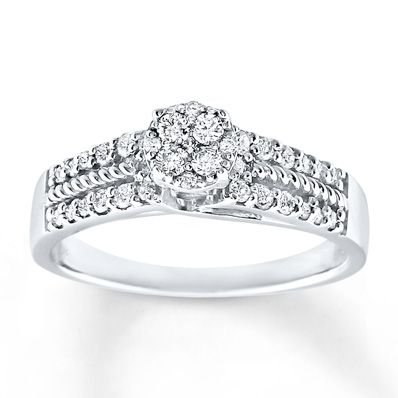 8a03ca24dc8e Diamond Engagement Ring 1 3 ct tw Round-Cut 10K White Gold