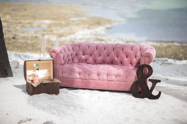 Rustic blush and cream beach wedding lounge area featuring our ...