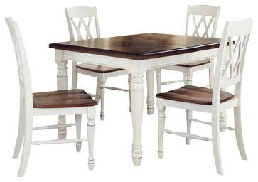 Home Styles Monarch 5 Piece Dining Set In White And Oak Finish Transitional Sets 818 95