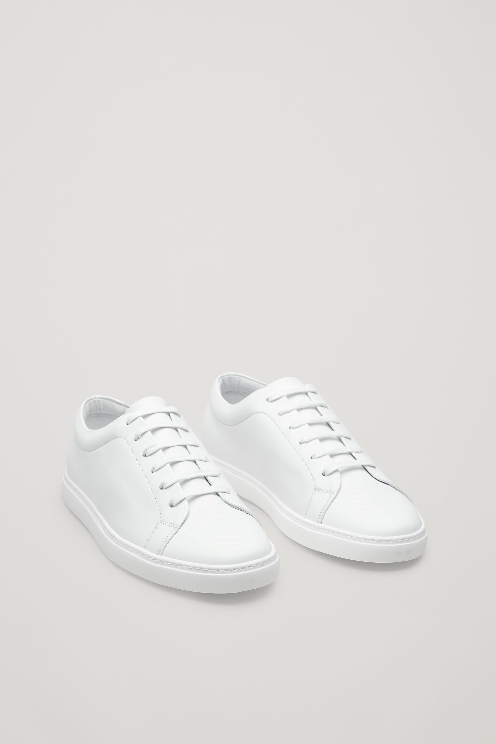 Cos Image 12 Of Slim Sole Lace Up Sneakers In White White Sneakers Men Korean Shoes White Sneakers