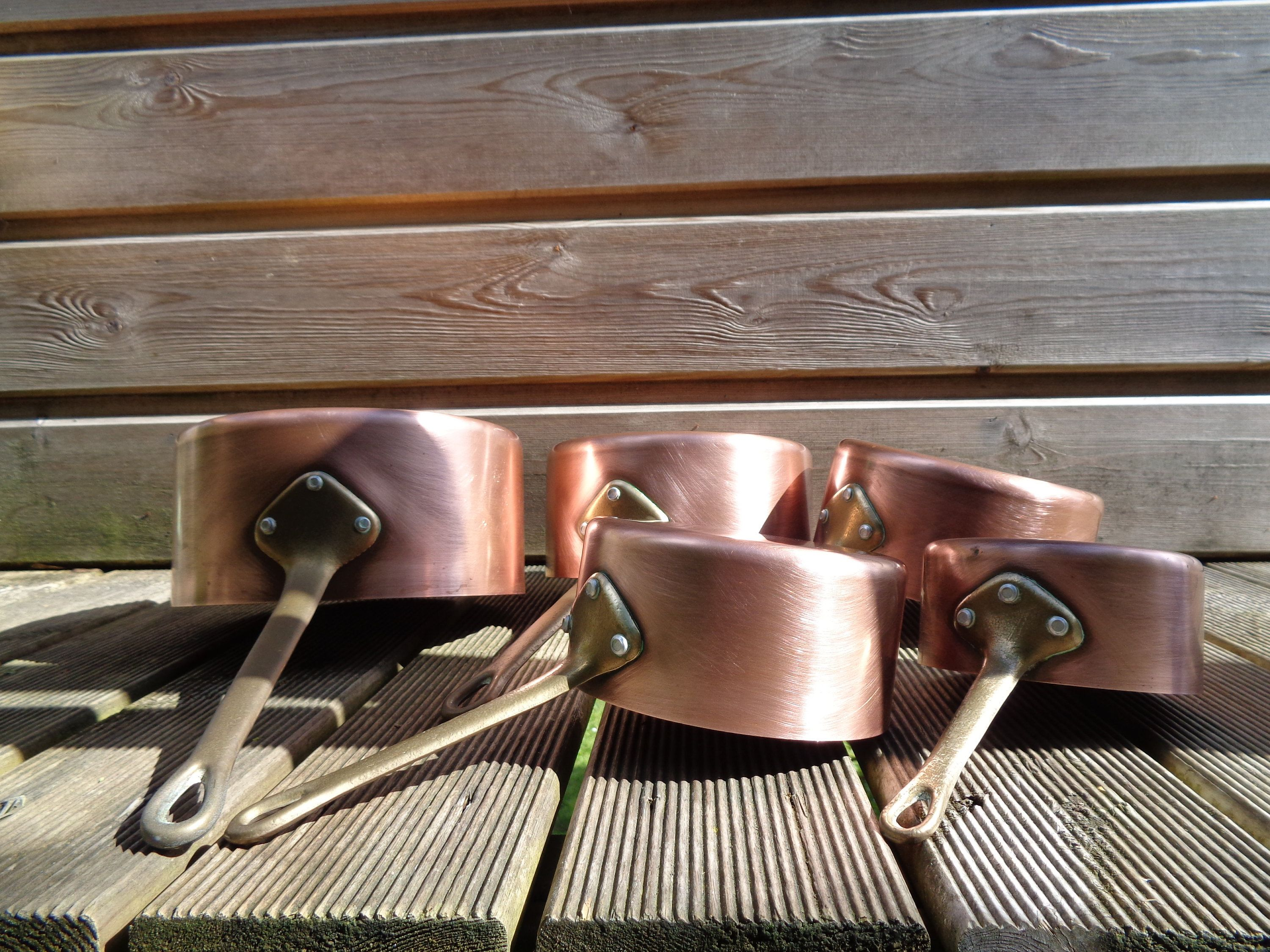 5 Copper Pans With Brass Sleeves French Kitchen Decor Antique