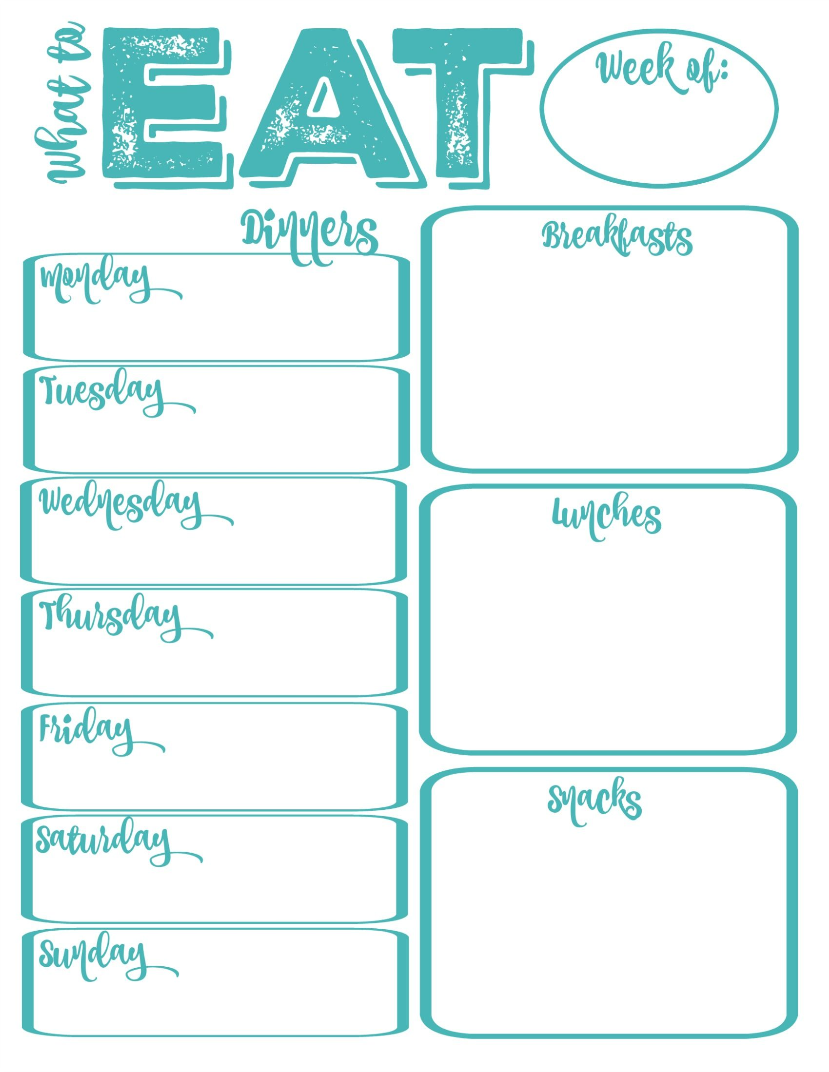 Lively image throughout weekly meal planner printable